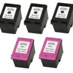 Remanufactured Replacement Set of 5 - 3 Black & 2 Color Ink Cartridges for HP 62XL