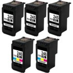 Remanufactured Canon PG-245XL and CL-246XL 5-Set High Yield Ink Cartridges: 3 Black and 2 Color