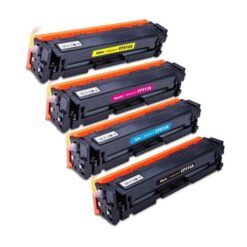 Compatible bulk set of 4 replacement toner cartridges for hp 204a: black, cyan, magenta and yellow